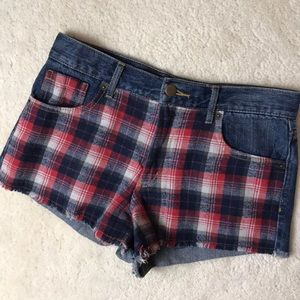 Forever 21 Jean and Plaid Mid Rise Shorts